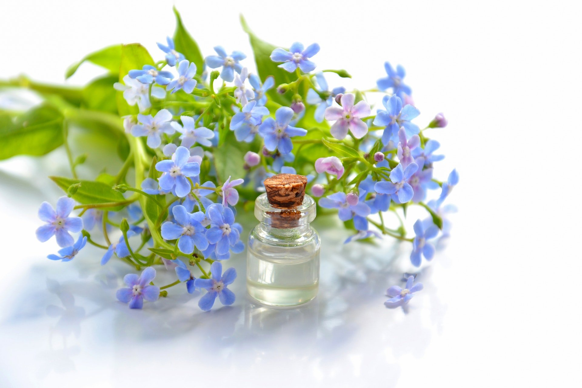 flowers and phial containing essential oil